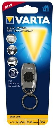 Varta L.E.D. METAL KEY CHAIN LIGHT - Schlüsselanhänger-Blinklicht - Chrom - LED - 15 lm - 11 m - CR2