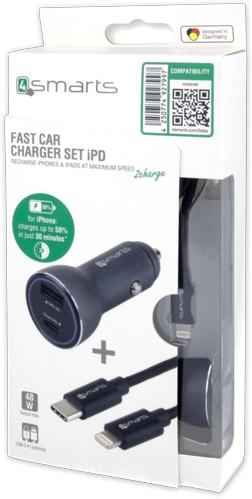 4smarts Fast Car Charger Set iPD - Auto-Netzteil - 30 Watt - 3 A - QC 3.0 - 2 Ausgabeanschlussstelle